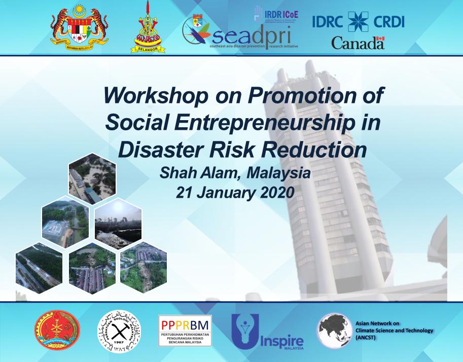 Workshop on Promotion of Social Entrepreneurship in Disaster Risk Reduction